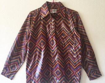SASKA PARROTT // Vintage 1970s Japanese Shirt Unisex Small Strange Top Pixel Pattern 70s Ski Shirt Shiny Fabric Nylon Disco Made in Japan