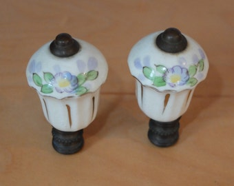 Pair of Porcelain Finial Lavender Flowers Silver and Gold Accents Vintage Probably 40s or 50s