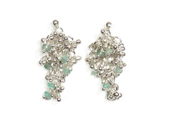 Earrings with Emerald Cluster