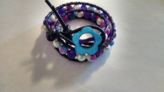 BOHO Chic Leather Wrap Bracelet with Purple, Blue and White Glass Beads and Pearls Flower Button Closure Friend Gift 15 inches Wedding Girl