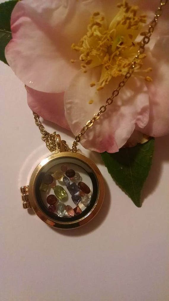 Genuine Gemstone Locket Pendant and Necklace Lots of Real Gemstones Multicolor Keepsake Charm Locket Friend Mom Grandma Wedding Shower