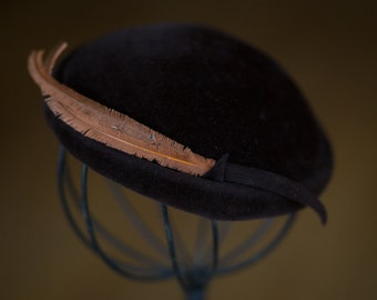 Vintage 1940s Velour Felted Hat / Brown Art Deco Cocktail Half Hat / Made in Italy with Gold Feather with Accents