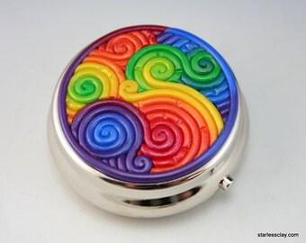 Rainbow Pill Box in Polymer Clay Filigree