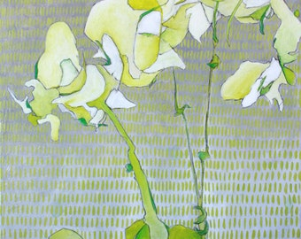"Abstract Floral Giclee Art Print by Shelley Detton ""Orchids in Spring Green"" Impressionist Painting White Flowers, Home Decor Art Print"