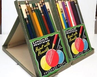 Vintage MONGOL Colored Pencils Set #743/ In  Easel Case / Eberhard Faber Watercolor Pencils
