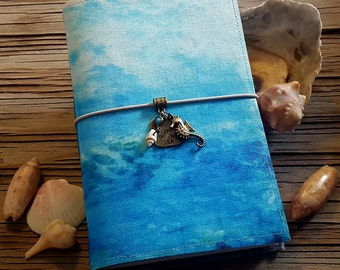 Dreaming of the Sea Journal - mermaid seahorse seashells beach vacation travel journal by tremundo