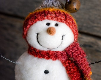 Needle Felt Snowman - Needle Felted Snowman - Christmas Snowman - Christmas Decoration - Christmas Decor -  Wool Snowman - Winter Décor -839
