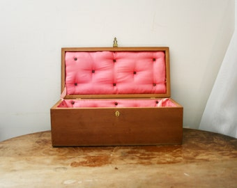 vintage 70s Creepy Handmade Wooden Coffin with Tufted Interior & Mini Pillow //Gothic Dolly Bed