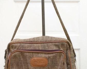 Vintage Pierre Cardin Tan Gray Tweed Carry On Bag