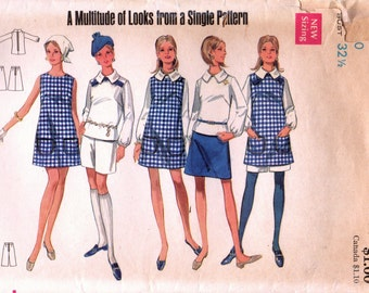 1960s Butterick 4913 Vintage Sewing Pattern Misses A-line Dress, Jumper, Blouse, Skirt, Shorts Size 10 Bust 32-1/2