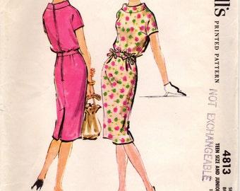 1950s McCall's 4813 Vintage Sewing Pattern Junior Sheath, Slim Dress, One Piece Dress Size 13 Bust 33