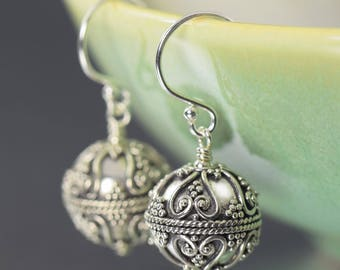 Gifts for her Bali earrings round sterling silver earrings dangle earrings