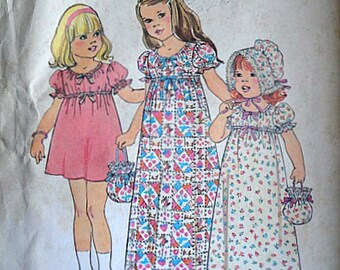 Vintage 70's Simplicity 7275 Sewing Pattern, Toddler Girls' Empire Prairie Dress in Two Lengths, Bonnet & Bag, Size 2, 1970's Kids Fashion