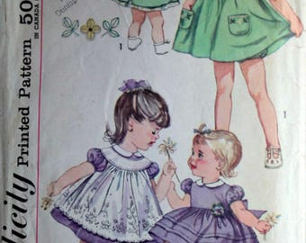 Vintage 60's Simplicity 3807 Sewing Pattern, Toddlers/Girl Dress, Pinafore And Panties, Size 1/2, Spring Summer 1960's Kids Fashion