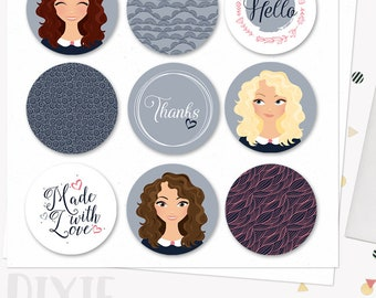 Woman character circle labels, printable diy sticker set with blonde, brunette and auburn hair (Dixie  LL09)
