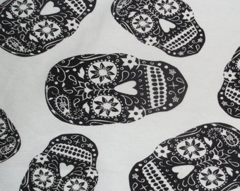 Sugar Skull French Terry Lycra Stretch Knit Fabric BTY ~ Last1s