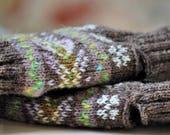 Fair Isle Fingerless Gloves Scottish Lambswool Brown, Green, Grey, Purple, Violet