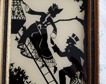 SALE!!  Vintage Silhouette of Eloping Couple, Marriage, Forbidden Love, Framed Elopement by Reliance