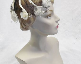1960s Vintage Black and White Whimsy Fascinator Hat with Flowers