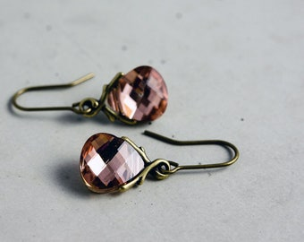 Swarovski Crystal Earrings, Dangle Earrings, Drop Earrings, Peach, Brass Earrings, Metallic Peach, Foiled, Pink, Gift Idea, PoleStar