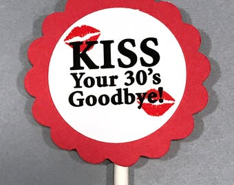 40th Birthday Cupcake Toppers - Kiss Your 30's Goodbye, Red and White, Set of 12, READY to SHIP