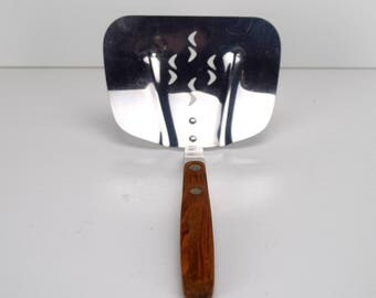 Vintage Zylco USA Kitchen Utensil, Large Slotted Spatula or Hamburger Flipper, Riveted Wood Handle Handcrafted