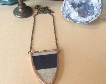 Antique Quilt Soldered Necklace - OOAK, Boho, Gypsy, Statement Necklace