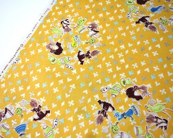 Alice in Wonderland Cotton fabric - Down Rabbit Hole K50920-2B Retro Orange - SAS and Yosh for KOKKA, select a cut