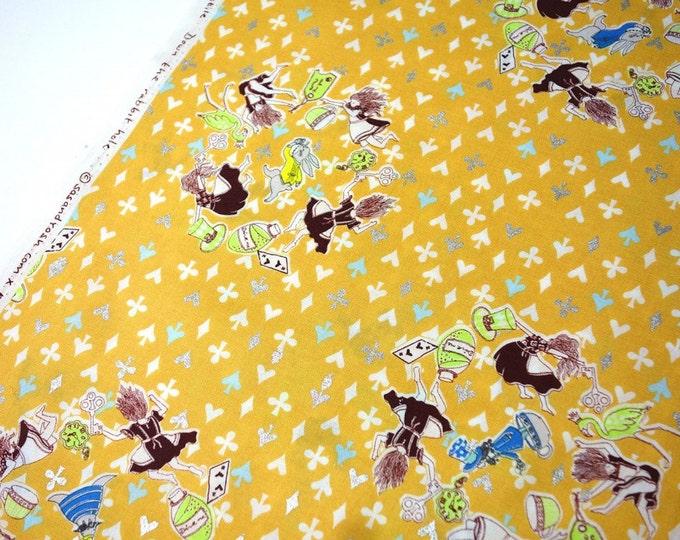 Alice in Wonderland Cotton fabric - Down Rabbit Hole K50920-2B Retro Orange - SAS and Yosh for KOKKA, select a cut