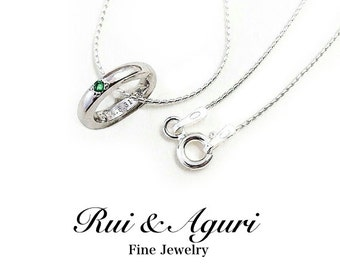 Silver Baby Ring Necklace with Birthstone