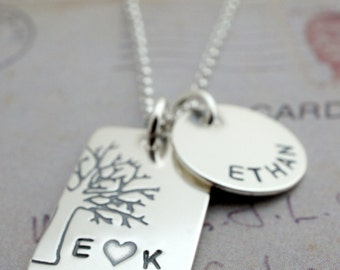Personalized Famliy Tree Necklace in Sterling Silver - Under the Oak Tree Pendant Plus One - Family Tree Necklace with Names and Initials
