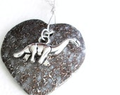 Dinosaur Bone Heart Necklace: Gembone Fossil Jewelry, Paleontology Lover Gift