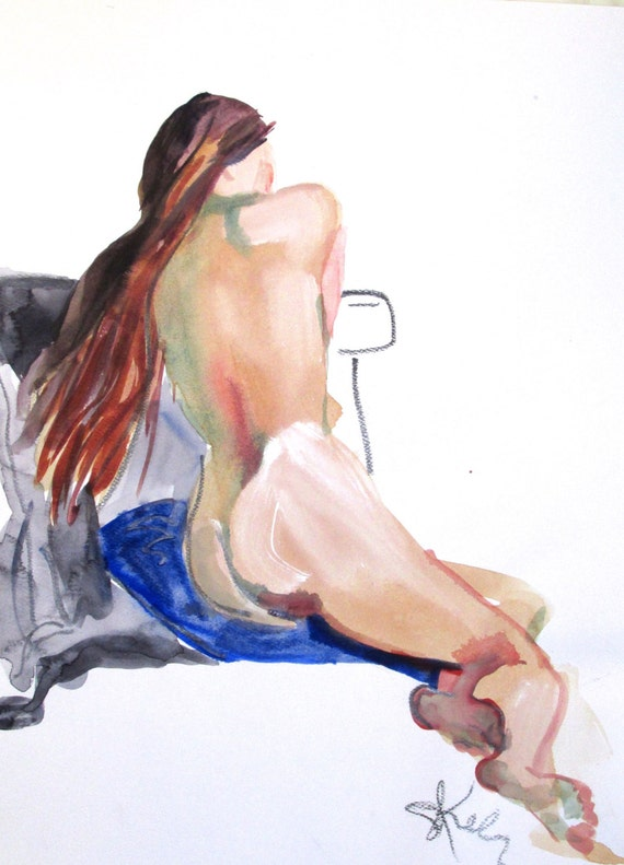 Nude painting- Original watercolor painting of Nude #1365 by Gretchen Kelly