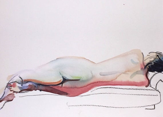Nude painting- Original watercolor painting of Nude #1401 by Gretchen Kelly
