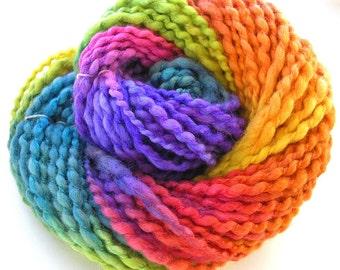 Handspun Yarn Soft BFL Wool Silk Yarn Hand Dyed Yarn Bulky Yarn Art Yarn 138 yards - Rainbow Bright