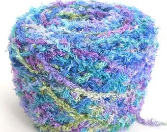 Hand Dyed Rayon Eyelash Fringe Yarn Soft Chenille Thick Worsted Chunky Yarn Purple Blue Aqua Green - Spring Crush