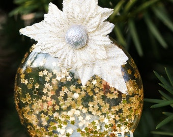 Gold Star Glitter Glass Disk Ornament, Cream Embossed Cloth & Silver Glitter Flower, White Ribbon, Christmas Holiday Tree Decor