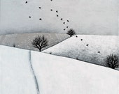 Snowy Landscape with Sheep and Birds - Archival 8x8 Print - Winter Landscape Painting - Minimalist Art - by Natasha Newton