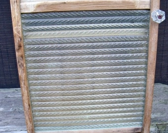 """WASHBOARD CABINET-GLASS-""""My True Rescue Story""""-REcycled antiQue washboard-glass knob-GreaT Medicine Cabinet / Spice Cupboard / Dressing room"""