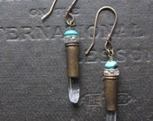 Quartz Bullet Earrings With Vintage Turquoise Beads and Rhinestones