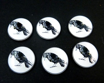 "6 Crow  Buttons. Handmade by Me.  Black Bird or Raven. Handmade By Me. Novelty or Craft Supplies. 3/4"" or 20 mm. Washable, Dryer Safe."