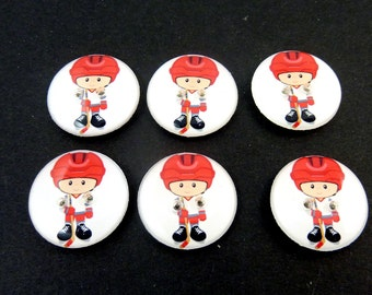 "6 Hockey Buttons.  3/4"" or 20 mm Boy Hockey Player Sewing Buttons.  Handmade by Me.  Washer and Dryer Safe."