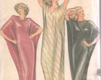 Butterick 3486 1980s Misses Silky Evening Caftan Pattern Asymmetric Seams Womens Vintage Sewing Pattern Size Large 16 18 Bust 38 - 40 UNCUT