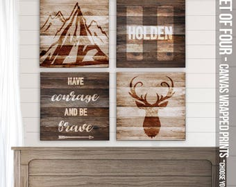 Rustic canvas prints for baby's nursery deer and mountains -personalized name monogram wood barn SET of FOUR canvas prints FBP-003