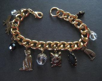 Kitty Charm Bracelet Vintage Brass Cat Charms