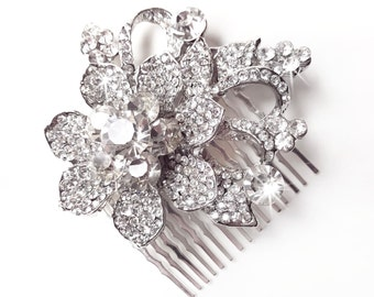Comb - Crystal Flower Hair Comb - Floral Rhinestone Bridal Comb - Vintage Style Hair Piece - Silver Rhinestone Brooch Comb