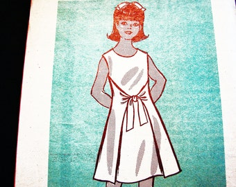 Teen Girls Wrap Dress Pattern Bust 32 size 14 Girls Wrap Around Dress Sewing Pattern Mail Oder Pattern 1970s UNCUT
