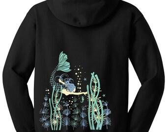 Mermaid Hoodie, Unisex black hoodie, Mermaid Art, Graphic Hoodie, Gift, Cool Art Hoodie
