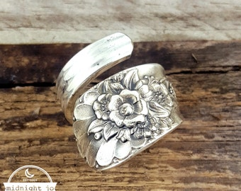 Spoon Ring - Wrapped Spoon Ring - Jubilee Spoon Ring - Spoon Jewelry - Floral Ring- Vintage Spoon Ring- Floral Spoon Ring- Silver Spoon Ring