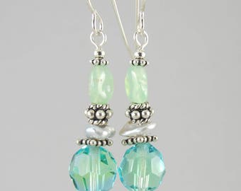 FREE SHIP vintage crystal and chrysoprase sterling earrings